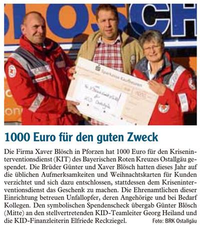 1000 Euro für den guten Zweck